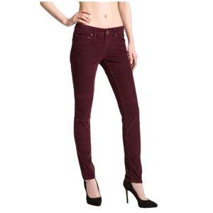 Free People Burgundy Corduroy Skinny Pants